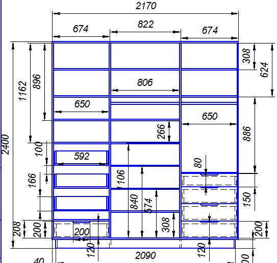 Схема заполнения шкафа купе