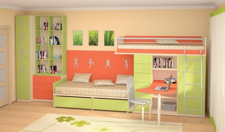 Двухъярусная кровать с рабочим столом и шкафом для вещей