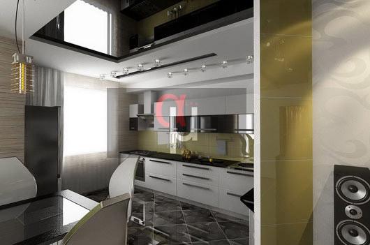 Белый кухонный гарнитур с зеркальными элементами