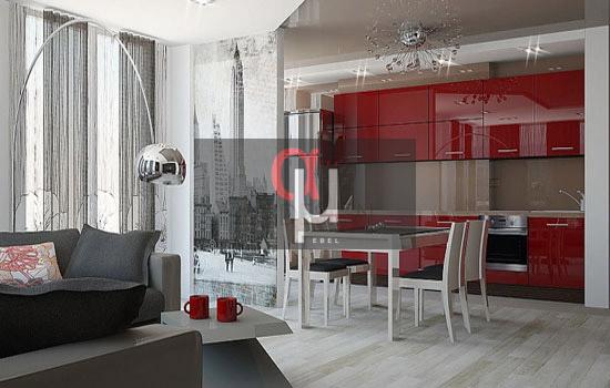 Бордовая кухня с фасадами из пластика
