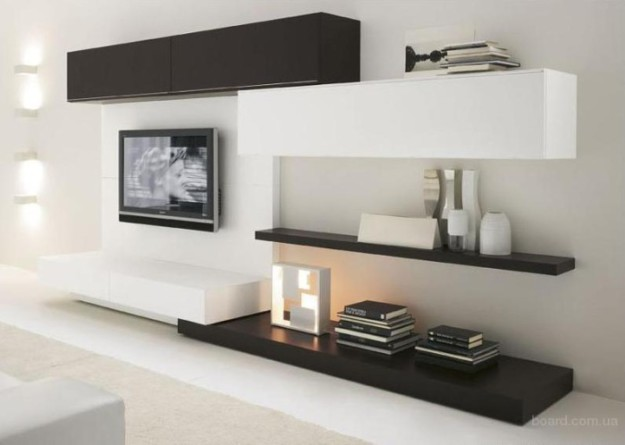 Черно-белый интерьер гостиной