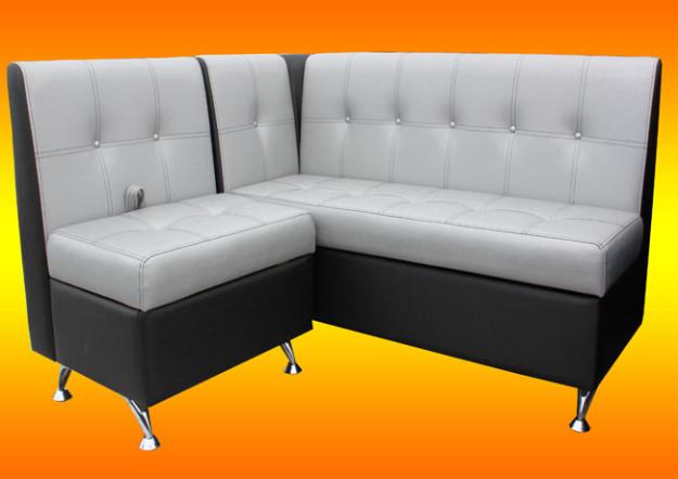 Черно-серый угловой диван для кухни «Квадро»
