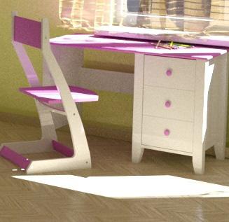 Детский письменный стол с цветной столешницей