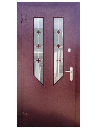 Дверь входная бордовая с витражными стеклами