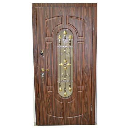 металлические двери со вставкой