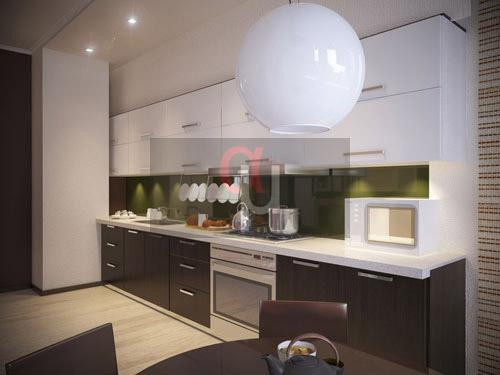 Двухцветная линейная кухня
