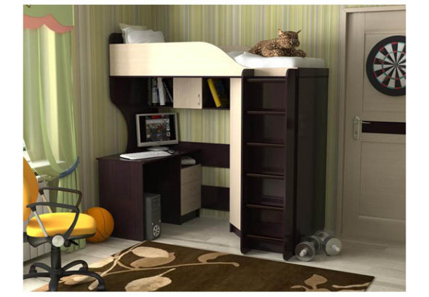 Двухъярусная кровать «Квартет-2» с деревянной лестницей