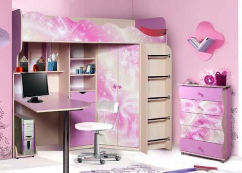 Двухъярусная кровать розовая с фотопечатью КМК-Мебель «Волшебница»