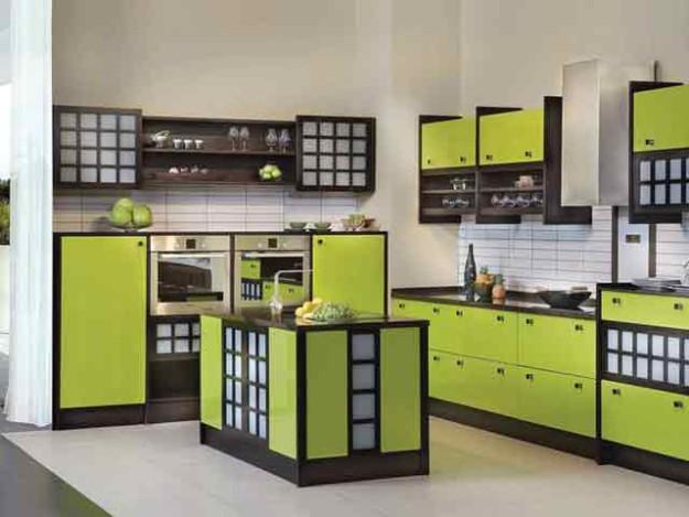 Гарнитур кухонный в зелено-коричневом цвете