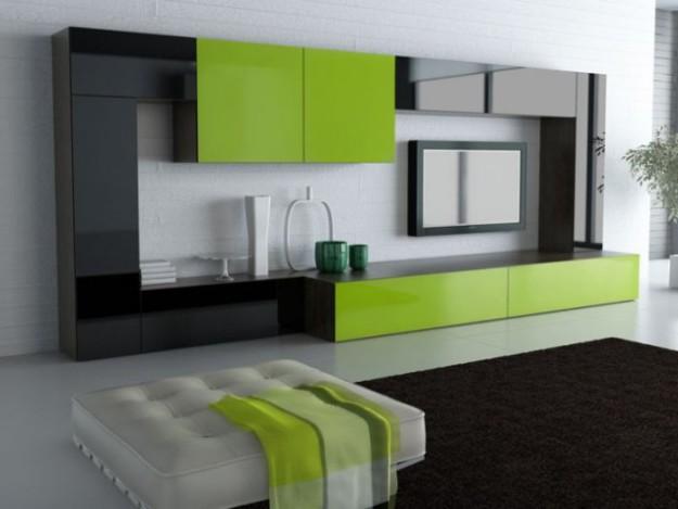 Гостиная зеленая глянцевая