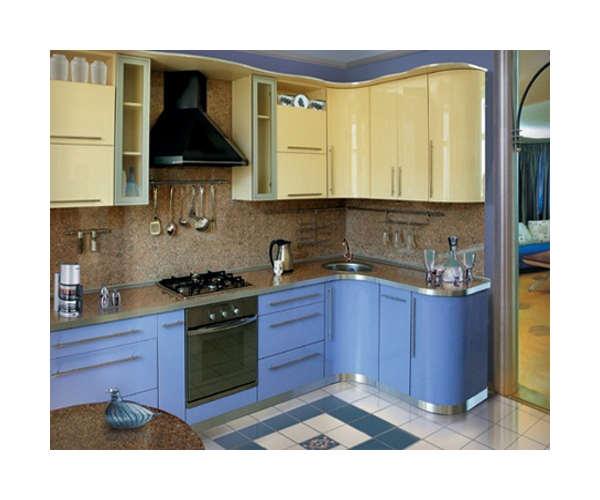 Комфортная угловая кухня светло-синяя К-18