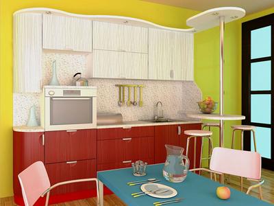 Компактная кухня с радиусным корпусом