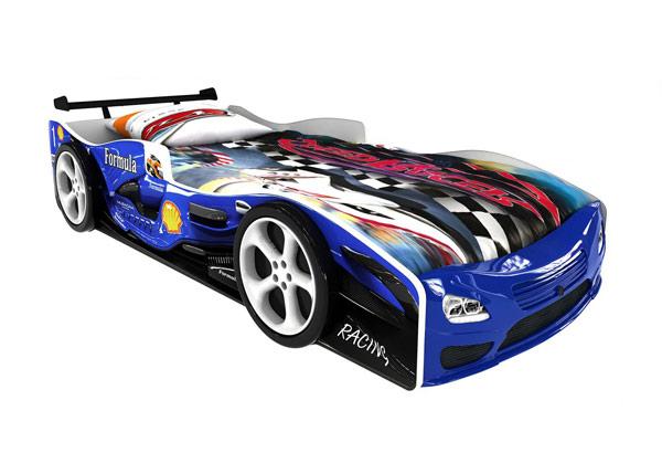 Кровать-машинка «Формула синяя Премиум»