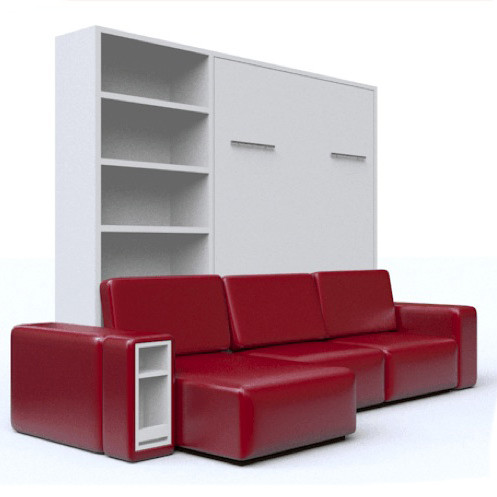 Кровать-трансформер с красным диваном