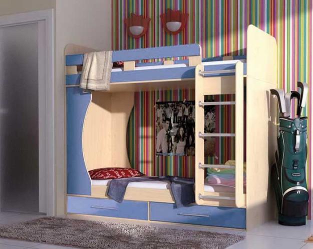 Кровать «Антошка-Дуэт» голубая