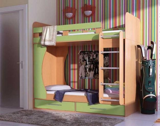 Кровать «Антошка-Дуэт» салатовая