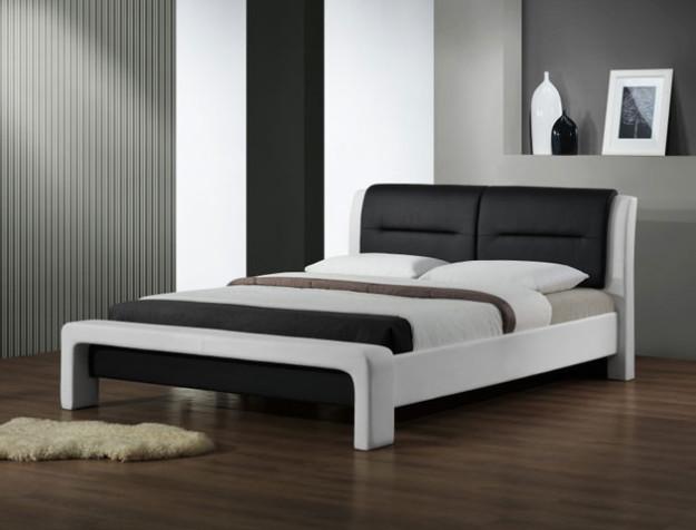 Кровать «Cassandra» бело-черная из экокожи