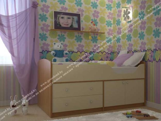 Кровать детская со встроенными ящиками