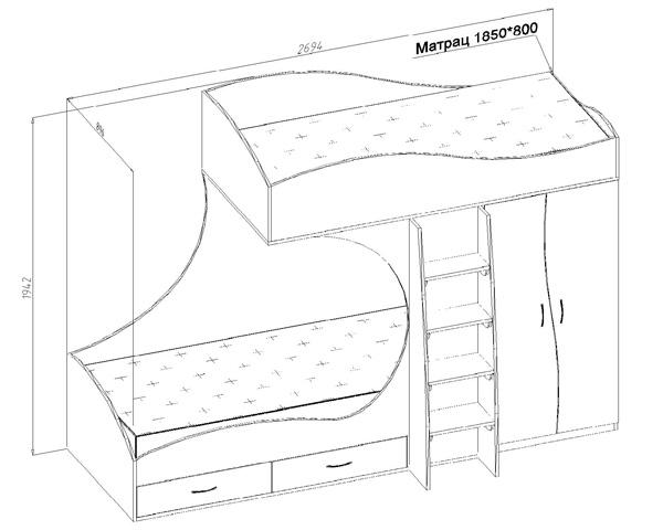 Чертеж двухъярусной кровати из дсп