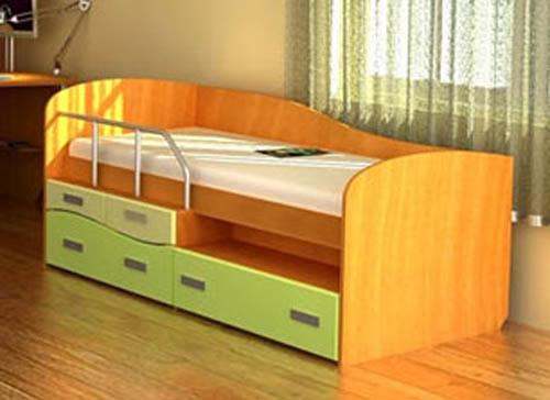 Кровать в детскую с выдвижными ящиками