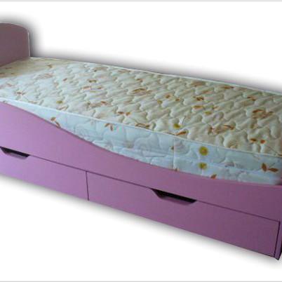 Кроватка детская розовая с матрасом