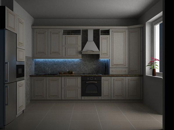 Кухня белая из массива с подсветкой