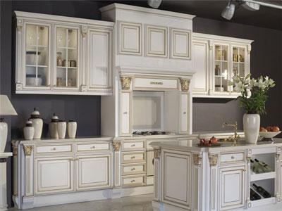 Кухня белая с островом