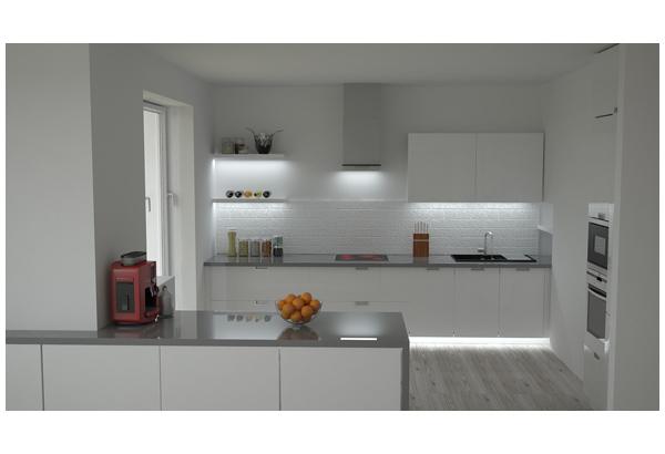 Кухня белая с подсветкой