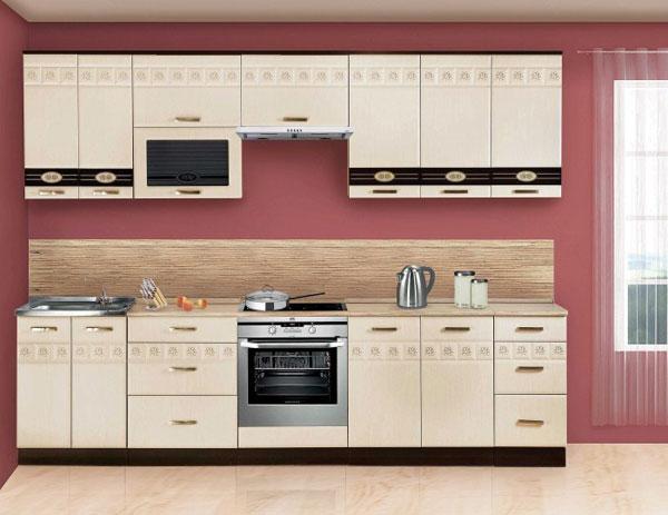 Кухня белая с узорчатыми линиями