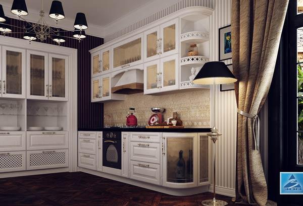 Кухня белая в классическом исполнении