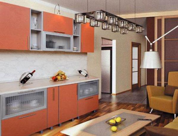Кухня бело-оранжевая