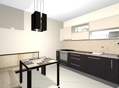 Кухня бежево-коричневая