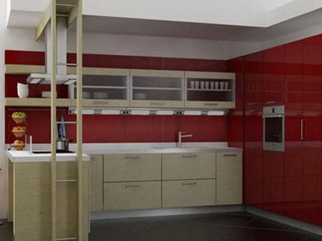 Кухня бежево-красная