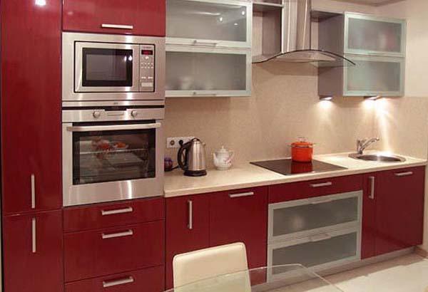 Кухня бордовый глянец