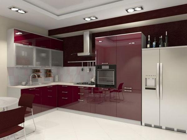Кухня бордово-белая