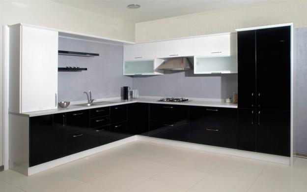 Кухня черно-белая угловая