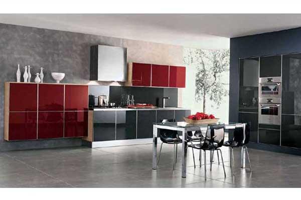 Кухня черно-красная линейная
