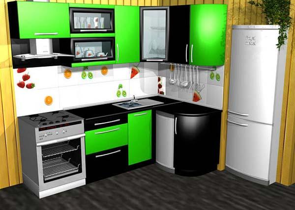 Кухня двухцветная черно-зеленая