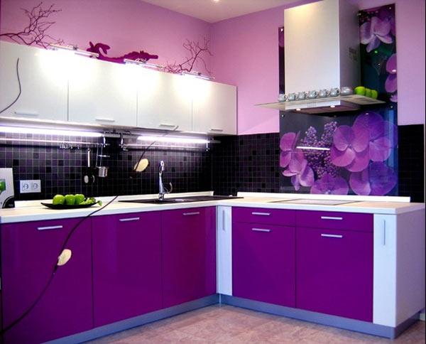 Кухня двухцветная с подсветкой