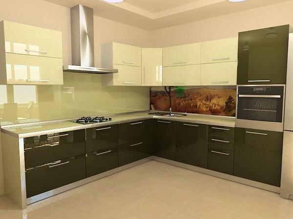 Кухня двухцветная со скинали