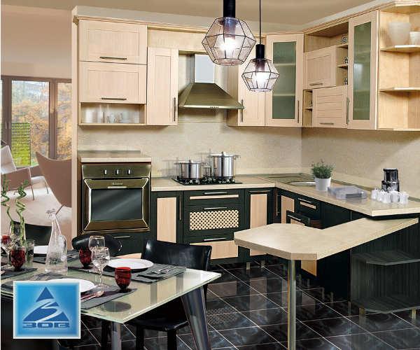 Кухня фасад Техно 1 дуб молочный/каштан