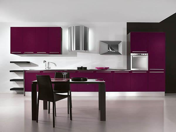 Кухня фиолетовая линейная