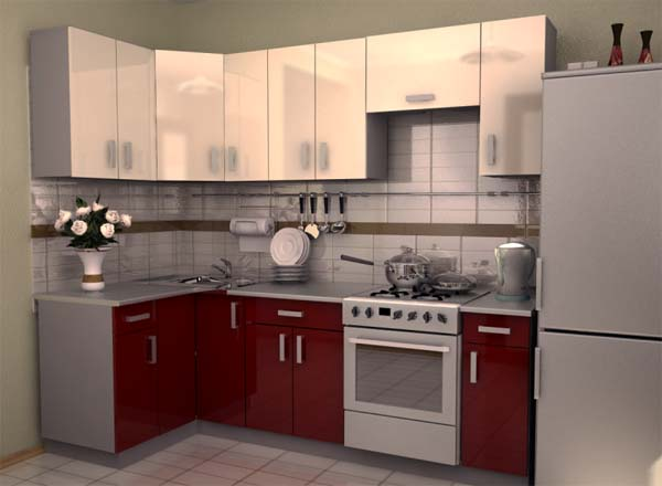 Кухня глянцевая бело-бордовая