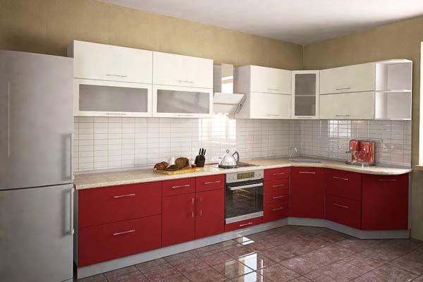 Кухня глянцевая бордово-белая