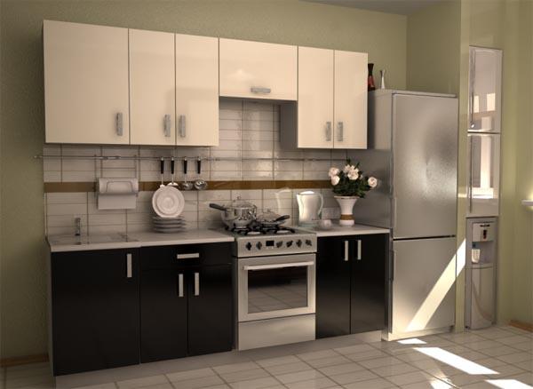 Кухня глянцевая двухцветная