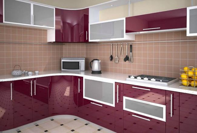 Кухня глянцевая фиолетовая