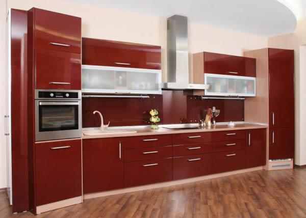 Кухня глянцевая красная