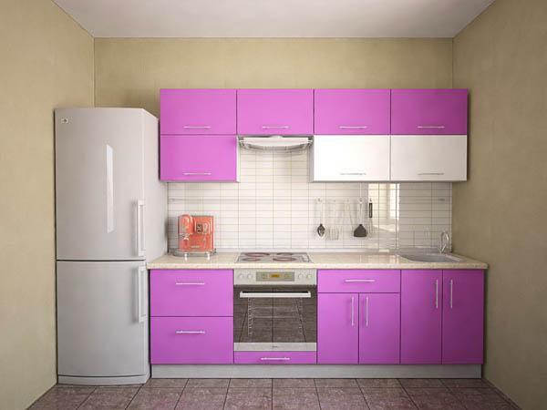 Кухня глянцевая розово-белая