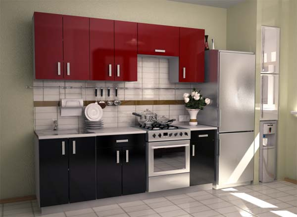 Кухня глянцевая в двухцветном оформлении