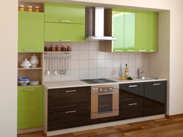 Кухня глянцевая зелено-черная